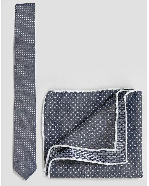 Minimum | Blue Tie And Pocket Square Set In Polka Dot for Men | Lyst