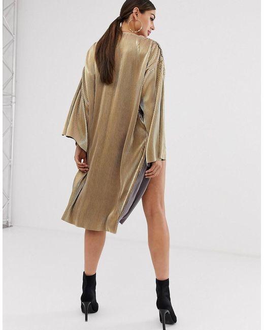 7acbfe3e865 ... ASOS - Metallic Gold Plisse Kimono Jacket - Lyst