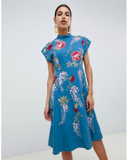 ASOS - Blue Midi Dress With Rose Embroidery - Lyst
