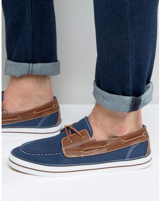 asos boat shoes in navy canvas in blue for lyst