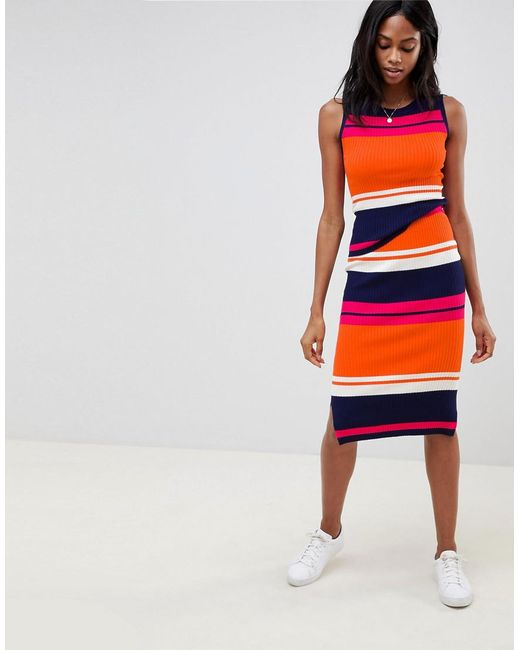 Oasis - Multicolor Colourblock Knitted Skirt - Lyst