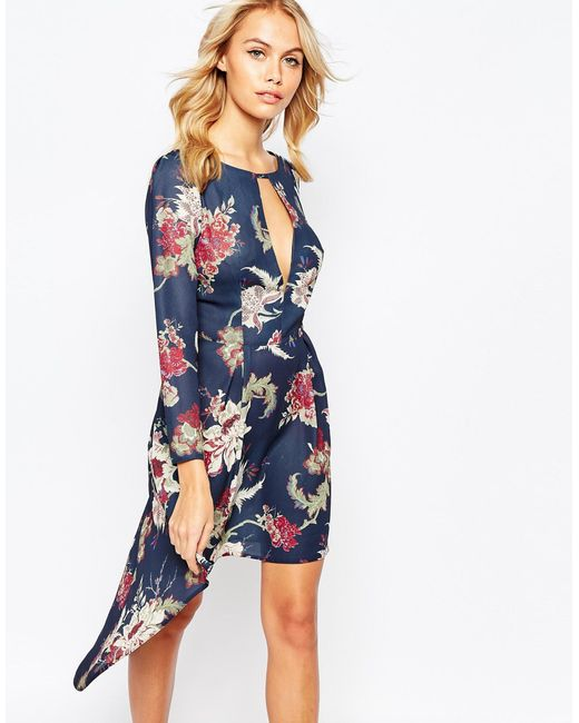 Love   Pink High Low Dress With Deep Plunge Front   Lyst