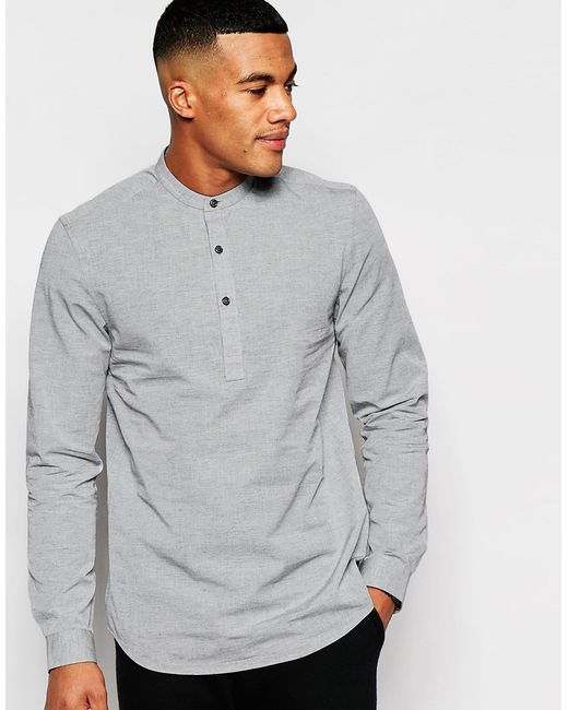 Asos Grey Shirt With Neps And Grandad Collar In Regular