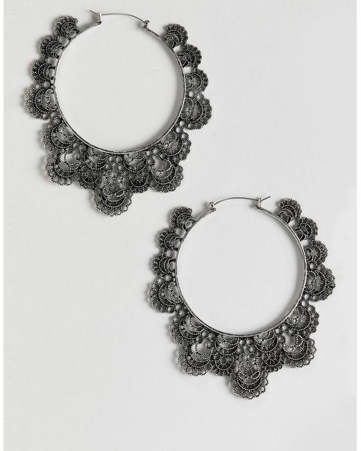 ASOS - Metallic Hoop Earrings In Cut Out Filigree Design In Silver - Lyst