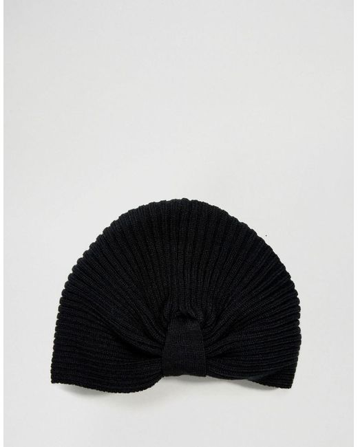 New Rib Basic Knot Front Hat In Black - Black Asos GBts6rcZt