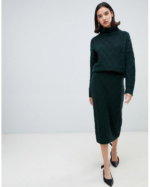 SELECTED Green Femme Knit Pencil Skirt