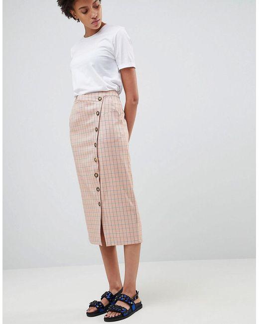 ASOS - Pink Check Skirt - Lyst
