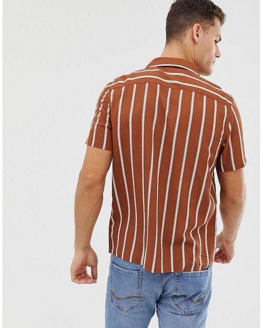 45706882d7 ... New Look - Yellow Regular Fit Viscose Stripe Shirt With Revere Collar  In Rust for Men