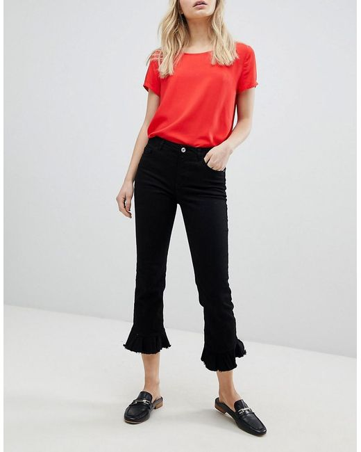ONLY - Black Cropped Peplum Hem Jean - Lyst