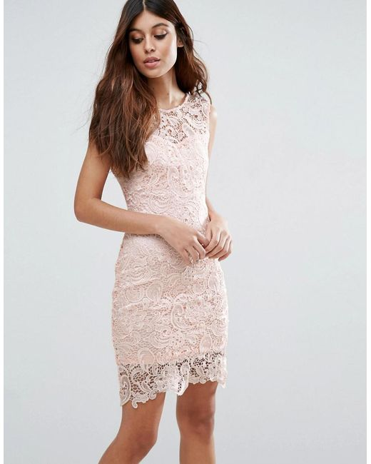 Zibi London | Natural Crochet Lace Pencil Dress | Lyst