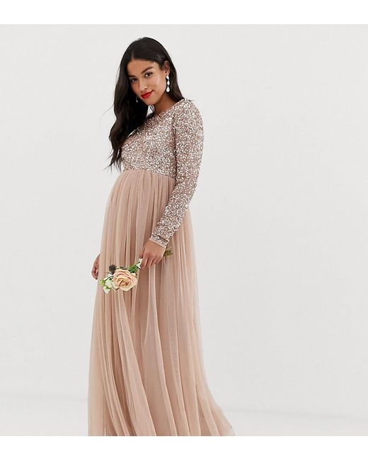 b187f560 Maya Maternity - Brown Bridesmaid Long Sleeved Maxi Dress With Delicate  Sequin And Tulle Skirt In ...