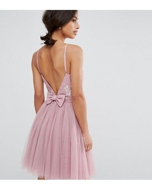 Little Mistress - Pink Embellished Top Mini Tulle Prom Dress With Bow Back  Detail - Lyst ... d7d3a6981