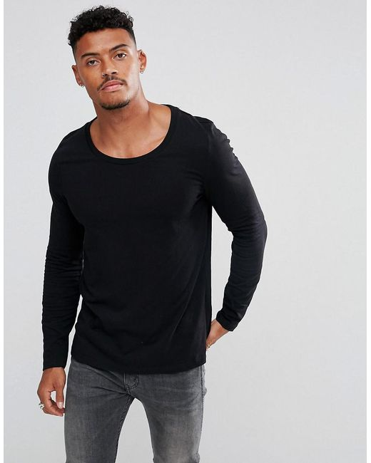 ASOS | Black Long Sleeve T-shirt With Scoop Neck for Men | Lyst