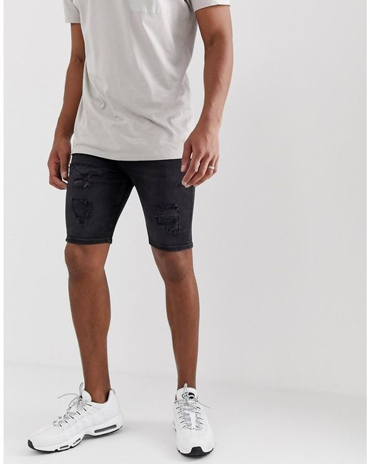 4585a484bf River Island Skinny Shorts In Washed Black in Black for Men - Lyst