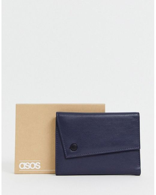 ASOS Blue Leather Asymestric Wallet In Navy for men