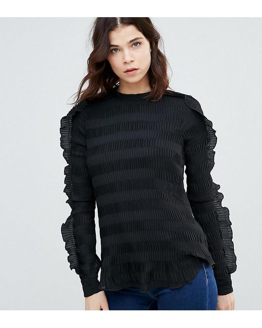 Y.A.S - Black Diana Ruffle Textured Blouse - Lyst