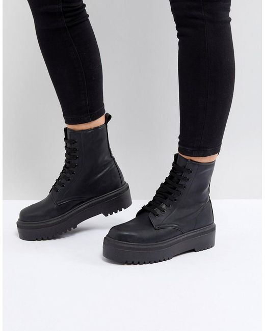 Black Chunky Lace Up Shoes Women