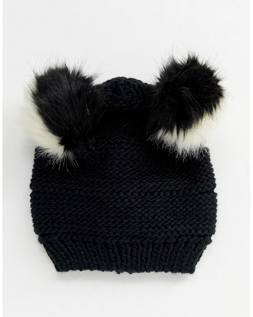 0dc411a1f31 ... Pull Bear - Black Double Faux Fur Pom Pom Hat - Lyst
