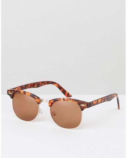 ASOS - Brown Retro Sunglasses In Tort for Men - Lyst