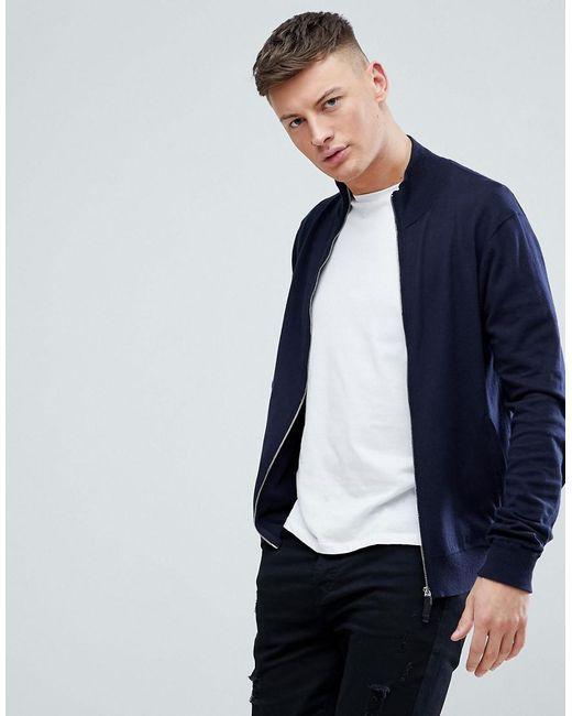 Armani Exchange - Blue Cotton Cashmere Zip Through In Navy for Men - Lyst