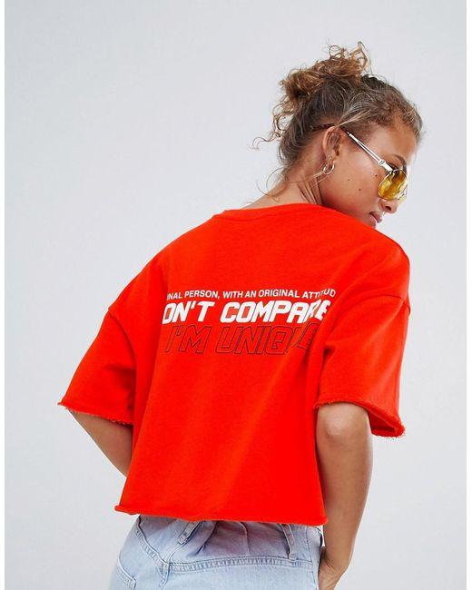 Bershka - Red Cropped Awesome Slogan Tee - Lyst