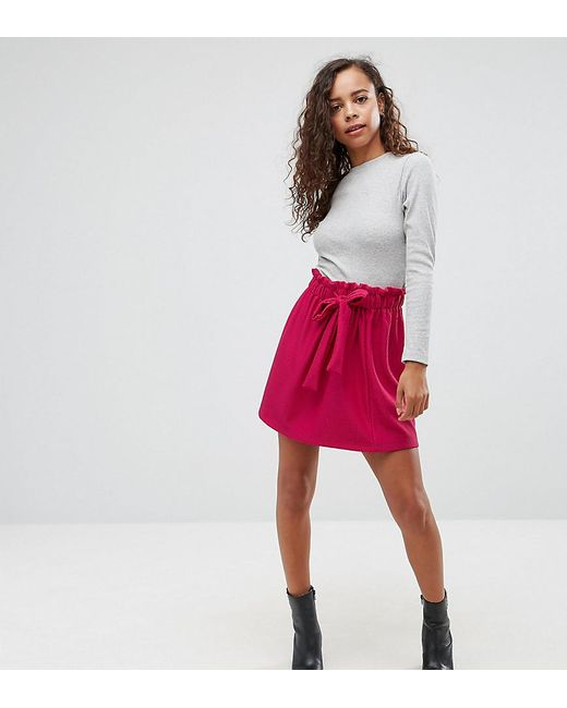 ASOS | Purple Textured Mini Skater Skirt With Paperbag Waist And Belt | Lyst