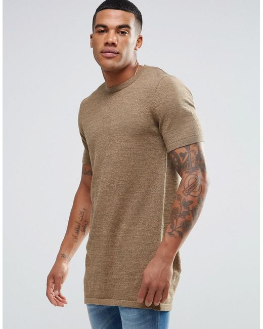 ASOS | Brown Longline Knitted T-shirt In Tan Twist for Men | Lyst