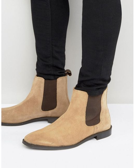ASOS - Brown Chelsea Boots In Stone Suede With Back Pull - Wide Fit Available for Men - Lyst