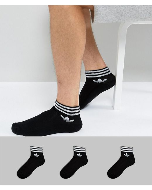 Adidas Originals | 3 Pack Ankle Socks In Black Az5523 for Men | Lyst
