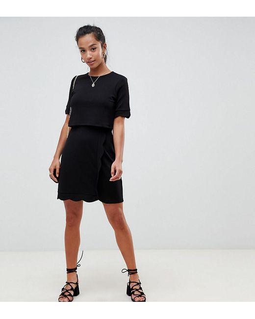 5f8ec0b421 ASOS - Black Asos Design Petite Scalloped Hem Mini Dress With Crop Top And  Wrap Skirt ...