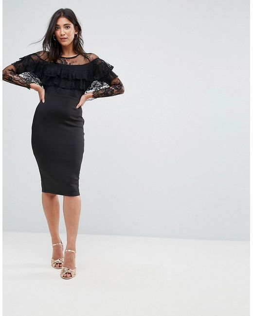 5f2bcb69633 AX Paris - Black Long Sleeve Overlay Midi Dress With Lace Detail - Lyst ...