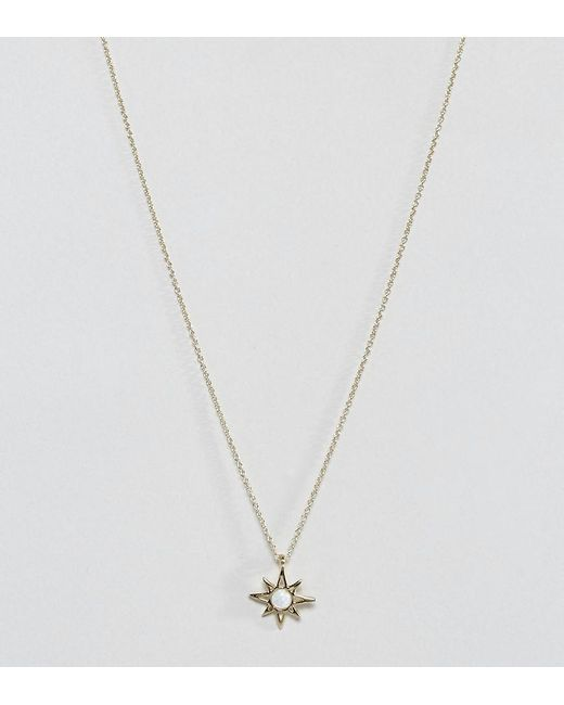 ASOS | Metallic Gold Plated Sterling Silver Faux Opal Star Necklace | Lyst