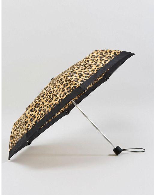 Fulton - Brown Minilite 2 Painted Leopard Umbrella - Lyst