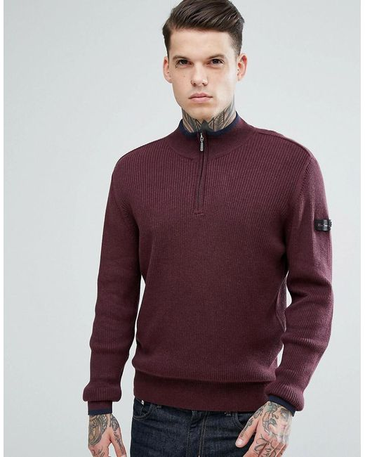 Ben Sherman - Red Zipped High Neck Jumper for Men - Lyst