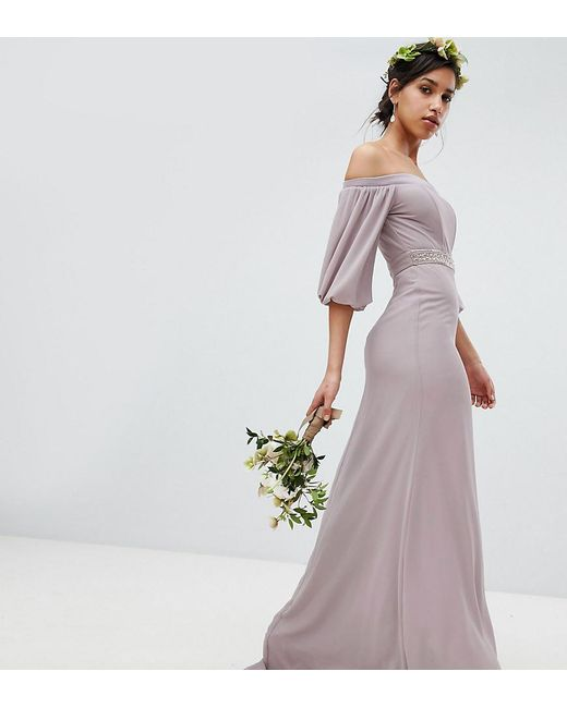 04037bc067 TFNC London - Gray Bardot Maxi Bridesmaid Dress With Sleeve Drama And  Embellished Waist - Lyst ...