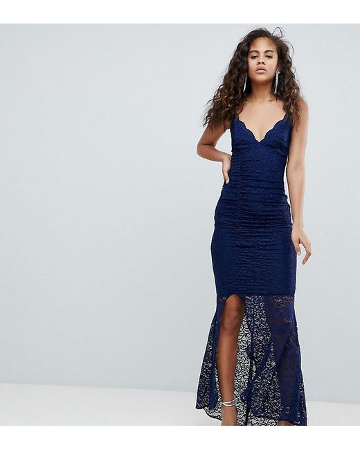 bcdd8d29f35e ASOS - Blue Asos Design Tall Deep Plunge Lace Bodycon Maxi Dress With  Fishtail - Lyst ...