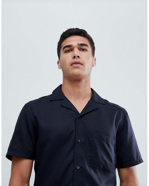Reiss - Blue Short Sleeve Slim Shirt In Cuban Collar for Men - Lyst