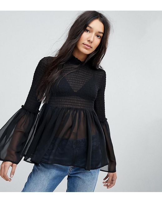 ASOS - Black Shirred Blouse With Fluted Sleeve - Lyst