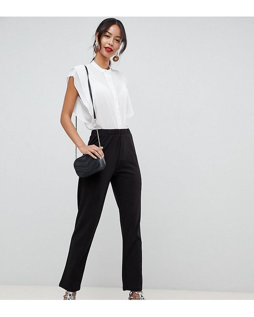 be410103 ASOS - Asos Design Tall Pull On Tapered Black Trouser In Jersey Crepe -  Lyst ...