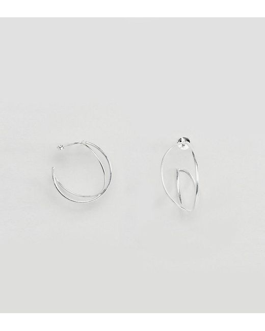 ASOS | Metallic Sterling Silver Interlocking Hoop Earrings | Lyst