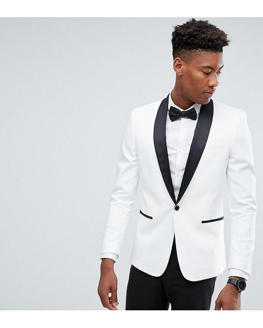 Asos Tall Slim Tuxedo Suit Jacket In White With Black