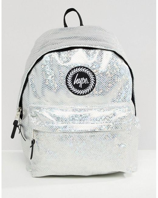 Hype - Metallic Backpack In Holographic Silver for Men - Lyst ... 5f01778e714f9