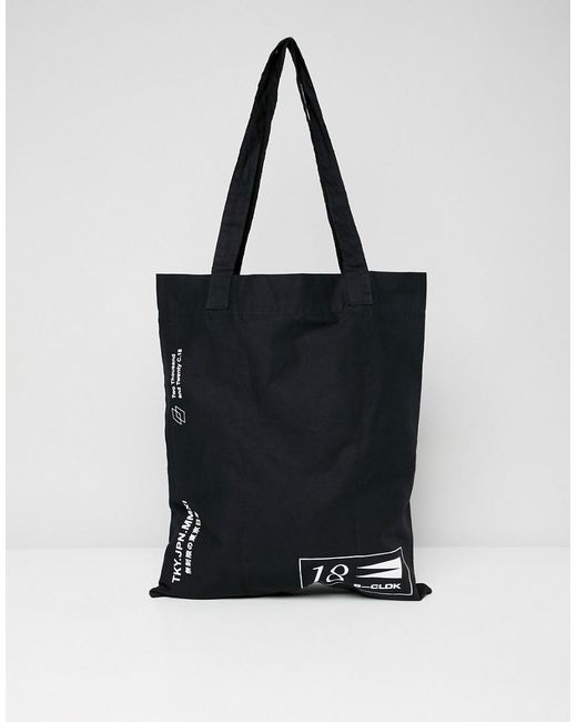 Lyst - Asos Tote Bag In Black With Text Placement Print in Black for Men 28ac7692c72ca