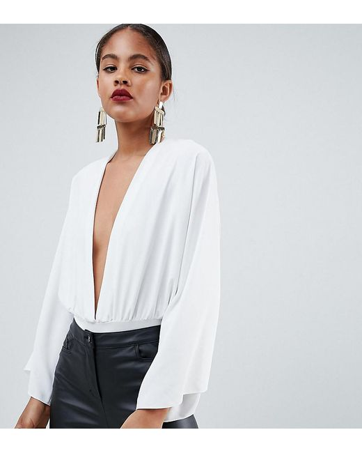 3b2f3eaff5a9 ASOS - White Asos Design Tall Long Sleeve Body With Plunge And Full Sleeve  Detail ...