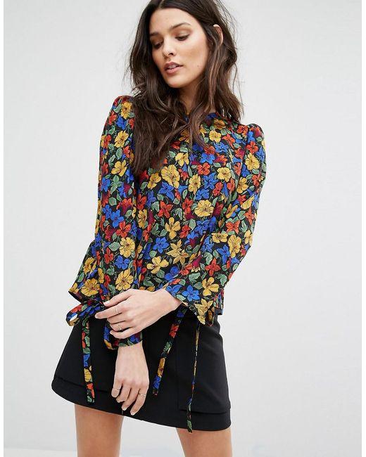Mango | Multicolor Floral Tie Sleeve Blouse | Lyst