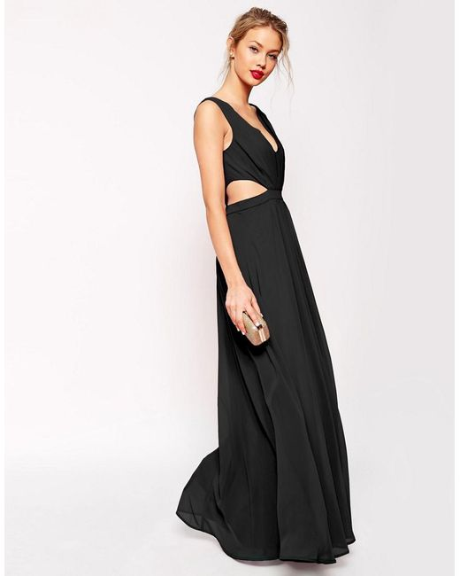 ASOS | Black Side Cut Out Maxi Dress | Lyst