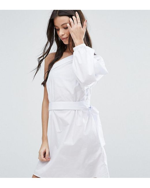 ASOS | White Extreme One Shoulder Cotton Mini Dress | Lyst
