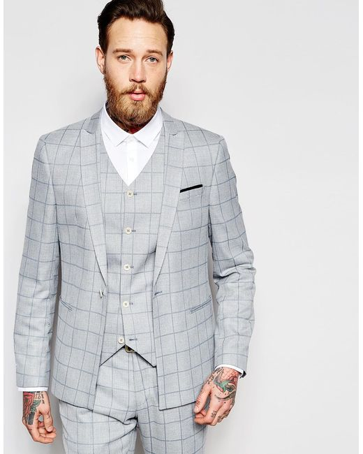 Asos Skinny Suit Jacket In Light Blue Check in Gray for Men | Lyst