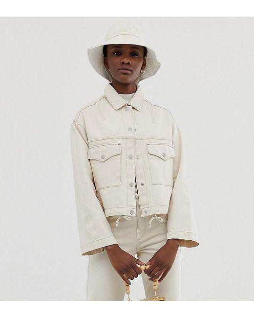 Weekday - Natural Drawstring Denim Jacket In Ecru - Lyst