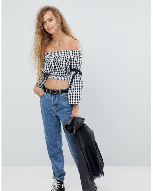 Love - Blue Shearing Crop Top With Tie Sleeves - Lyst
